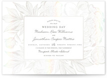 This is a white gloss press wedding invitation by Chris Griffith called Etched Peonies with gloss-press printing on signature in standard.