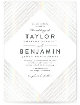 This is a white gloss press wedding invitation by Erica Krystek called Criss Cross with gloss-press printing on signature in standard.