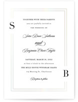 This is a white gloss press wedding invitation by Carolyn MacLaren called Side by Side with gloss-press printing on signature in standard.