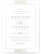 This is a grey gloss press wedding invitation by Stacey Meacham called Refined style with gloss-press printing on signature in standard.
