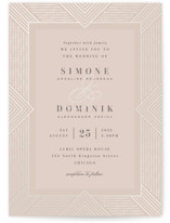This is a beige gloss press wedding invitation by Hooray Creative called Beaded Edge with gloss-press printing on signature in standard.