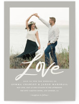 This is a grey gloss press wedding invitation by Stacey Meacham called Lovely script with gloss-press printing on signature in standard.