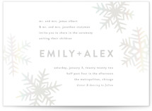 This is a grey gloss press wedding invitation by Jessie Steury called Snowflakes with gloss-press printing on signature in standard.