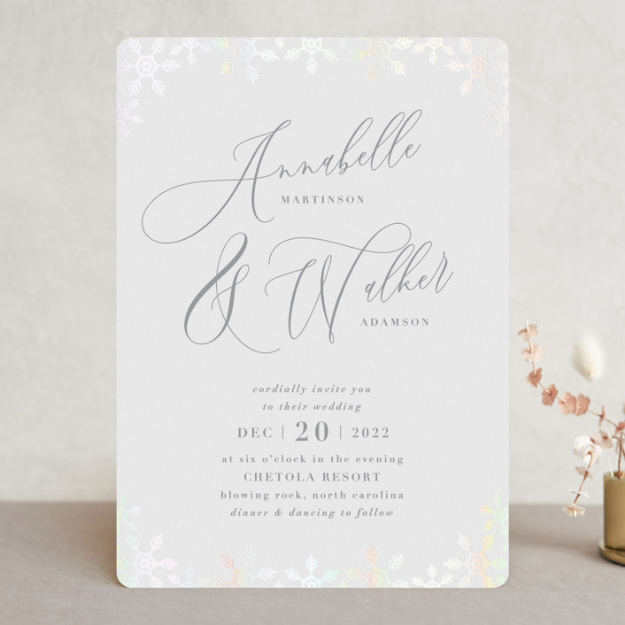 """Frosted"" - Gloss-press™ Wedding Invitation in Winter Flurry by Sara Heilwagen."
