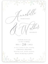 This is a grey gloss press wedding invitation by Sara Heilwagen called Frosted with gloss-press printing on signature in standard.