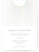 This is a white gloss press wedding invitation by Holly Whitcomb called Supernova with gloss-press printing on signature in standard.
