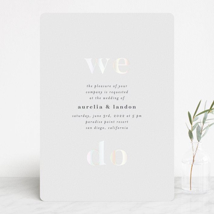 """""""Sweet and Simple"""" - Vintage Gloss-press™ Wedding Invitation in Snow by Ink and Letter."""