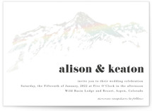 This is a white gloss press wedding invitation by Jessie Steury called Mountain Side Sketch with gloss-press printing on signature in standard.