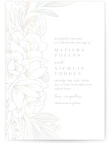 This is a white gloss press wedding invitation by Olivia Raufman called Refined Bouquet with gloss-press printing on signature in standard.