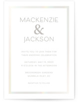 This is a white gloss press wedding invitation by Emma Leigh Design called soft tones with gloss-press printing on signature in standard.