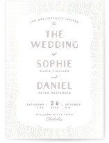 This is a grey gloss press wedding invitation by Gwen Bedat called Confetti Frame with gloss-press printing on signature in standard.