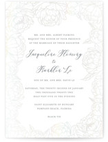 This is a grey gloss press wedding invitation by Amy Ngo called Blooming Peonies with gloss-press printing on signature in standard.