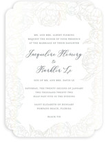 This is a grey gloss press wedding invitation by Amy Ngo called Blooming Peonies with gloss-press printing on recycled in standard.