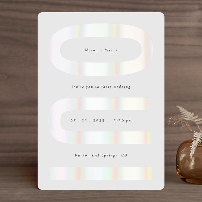 """""""Oui"""" - Gloss-press® Wedding Invitation in Opal by Gwen Bedat."""