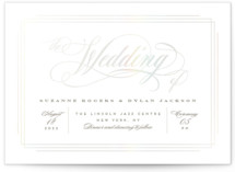This is a white gloss press wedding invitation by Creo Study called Dolce with gloss-press printing on signature in standard.