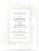 This is a white gloss press wedding invitation by Alethea and Ruth called Gilded Floral Frame with gloss-press printing on signature in standard.