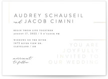 This is a white gloss press wedding invitation by Carrie ONeal called Corners with gloss-press printing on signature in standard.
