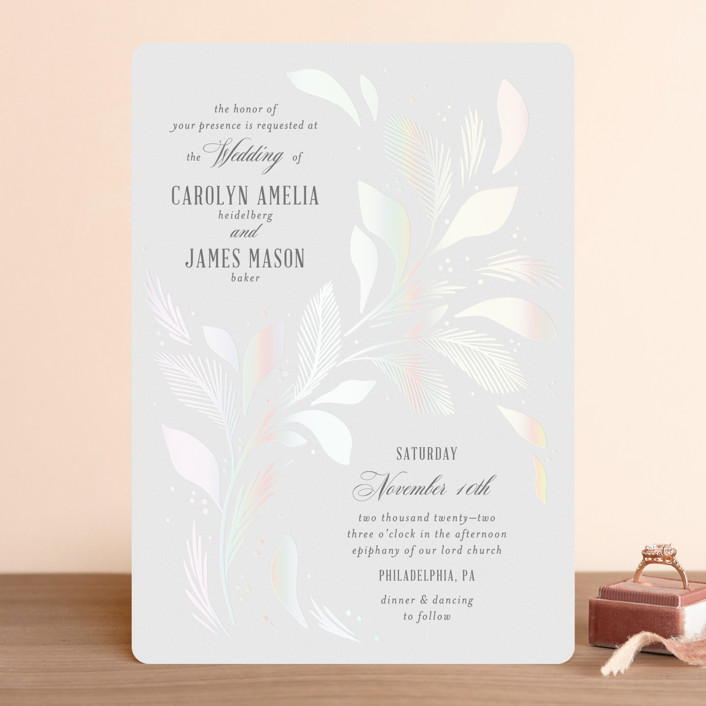 """Entwining"" - Gloss-press™ Wedding Invitation in Opal by Paper Raven Co.."