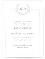 This is a white gloss press wedding invitation by Sarah Brown called Subtle with gloss-press printing on signature in standard.