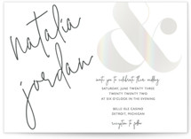 This is a white gloss press wedding invitation by Jhudy called modern ampersand with gloss-press printing on signature in standard.