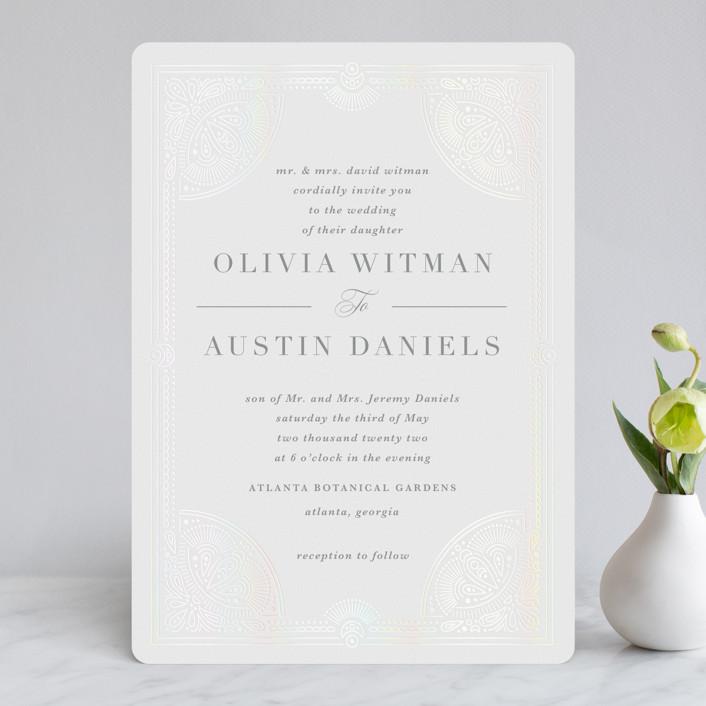 """Adorn"" - Vintage Gloss-press® Wedding Invitation in Shimmer by Kristen Smith."