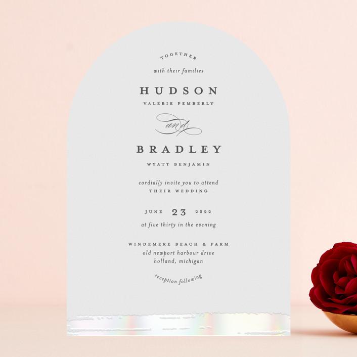 """Gala"" - Vintage Gloss-press® Wedding Invitation in Opal by Ashley DeMeyere."