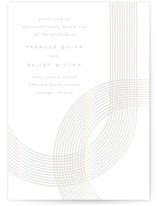This is a grey gloss press wedding invitation by Baumbirdy called Banded Arch with gloss-press printing on recycled in standard.