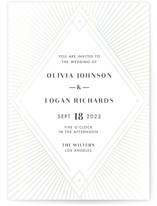 This is a white gloss press wedding invitation by Shirley Lin Schneider called diamonte rays with gloss-press printing on signature in standard.