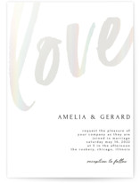 This is a white gloss press wedding invitation by Iveta Angelova called Bold Love with gloss-press printing on signature in standard.