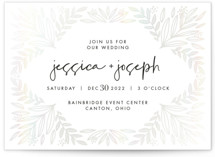 This is a white gloss press wedding invitation by Mayflower Press called Opal with gloss-press printing on signature in standard.