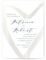 This is a grey gloss press wedding invitation by Alexandra Dzh called love heart with gloss-press printing on signature in standard.