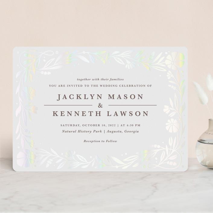 """Jasmine"" - Gloss-press™ Wedding Invitation in Shimmer by Kristen Smith."