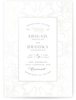 This is a white gloss press wedding invitation by Susan Zinader called Nicolette with gloss-press printing on signature in standard.