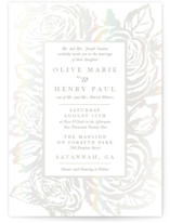 This is a pink gloss press wedding invitation by Christie Kelly called House of York with gloss-press printing on signature in standard.