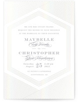 This is a white gloss press wedding invitation by Rebecca Daublin called Connection with gloss-press printing on signature in standard.