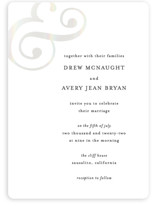 This is a white gloss press wedding invitation by Roxanne Fay called Classic Ampersand with gloss-press printing on signature in standard.