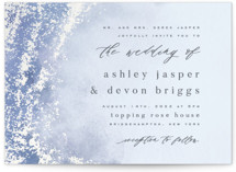 This is a blue gloss press wedding invitation by Everett Paper Goods called Tidal with gloss-press printing on signature in standard.