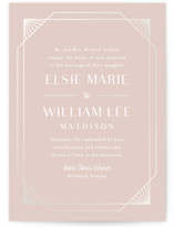 This is a pink gloss press wedding invitation by Meggy Masters called Radiant Frame with gloss-press printing on signature in standard.