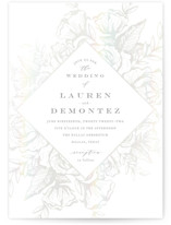 This is a grey gloss press wedding invitation by Jennifer Postorino called Beautiful Bouquet with gloss-press printing on signature in standard.