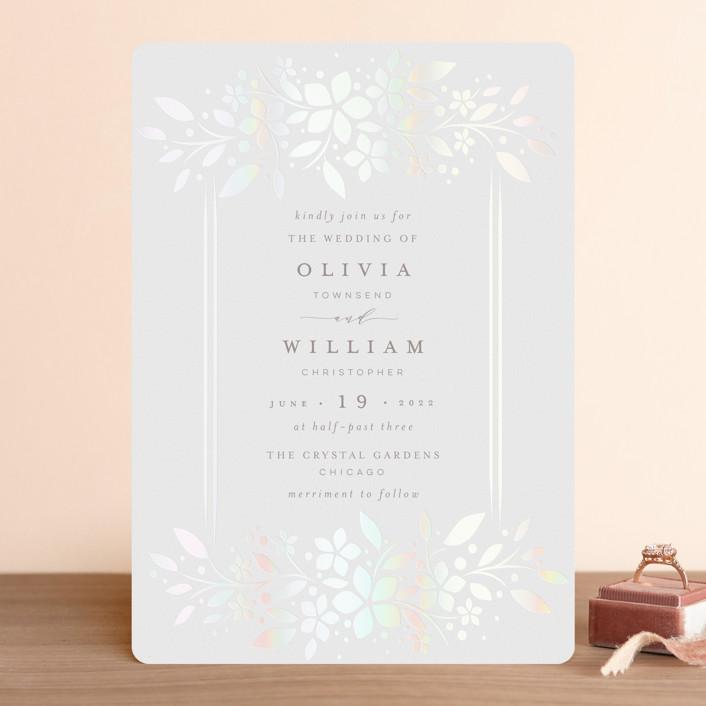 """trellis"" - Gloss-press® Wedding Invitation in Opal by Melanie Kosuge."