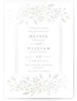 This is a white gloss press wedding invitation by Melanie Kosuge called trellis with gloss-press printing on signature in standard.