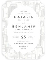 This is a white gloss press wedding invitation by Snow and Ivy called City with gloss-press printing on signature in standard.
