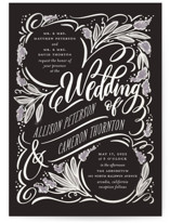 This is a black gloss press wedding invitation by Laura Bolter Design called Garden Swirls with gloss-press printing on signature in standard.