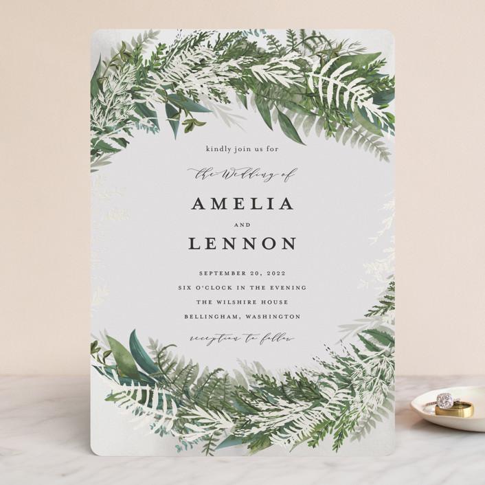 """Fresh Vines"" - Gloss-press™ Wedding Invitation in Snow by Susan Moyal."