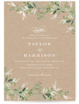 This is a brown gloss press wedding invitation by Jennifer Postorino called Trailing Vine with gloss-press printing on signature in standard.