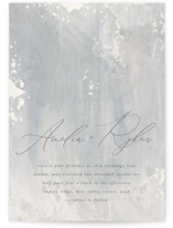 This is a grey gloss press wedding invitation by Robert and Stella called Fresco with gloss-press printing on signature in standard.