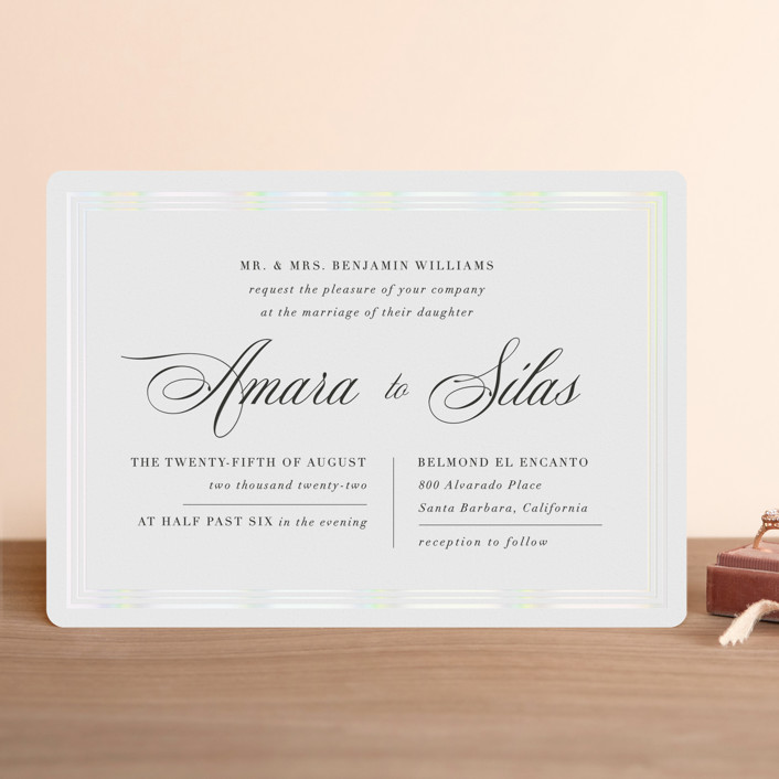 """Tailored Stripes"" - Gloss-press™ Wedding Invitation in Opal by Griffinbell Paper Co.."
