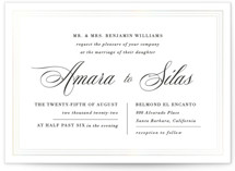 This is a white gloss press wedding invitation by Griffinbell Paper Co. called Tailored Stripes with gloss-press printing on signature in standard.