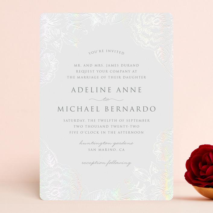 """""""Au Jardin"""" - Gloss-press® Wedding Invitation in Opal by Rochelle Renee."""