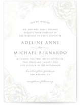 This is a grey gloss press wedding invitation by Smudge Design called Au Jardin with gloss-press printing on signature in standard.